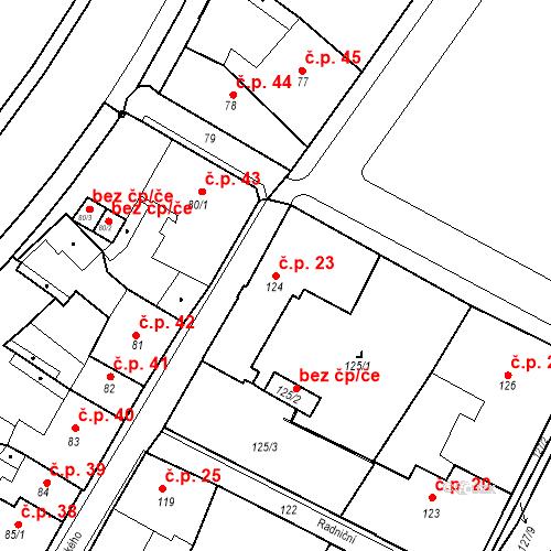 Katastrální mapa Stavební objekt Bílina 23, Bílina