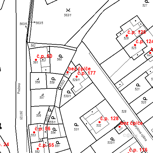 Katastrální mapa Stavební objekt Pražské Předměstí 177, Bílina