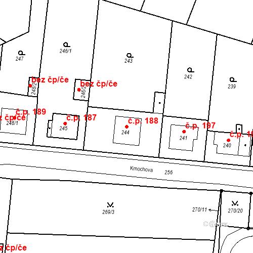 Katastrální mapa Stavební objekt Pražské Předměstí 188, Bílina