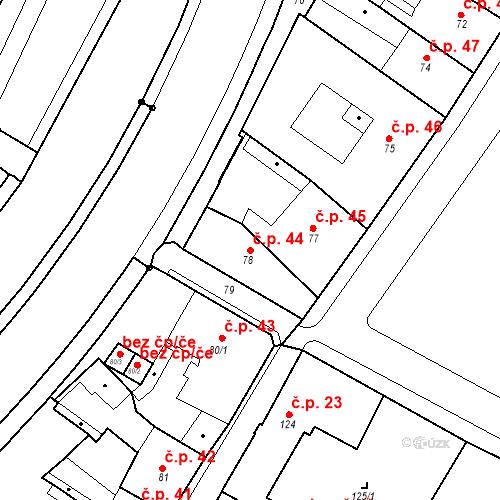 Katastrální mapa Stavební objekt Bílina 44, Bílina