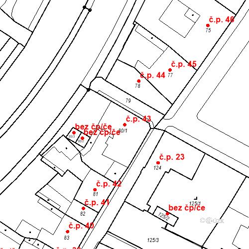 Katastrální mapa Stavební objekt Bílina 43, Bílina