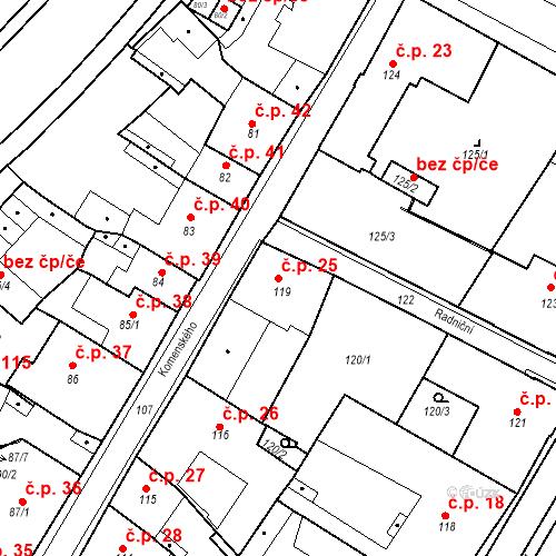 Katastrální mapa Stavební objekt Bílina 25, Bílina