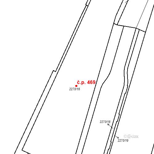 Katastrální mapa Stavební objekt Mostecké Předměstí 469, Bílina