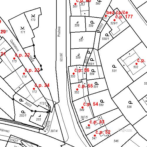 Katastrální mapa Stavební objekt Pražské Předměstí 56, Bílina