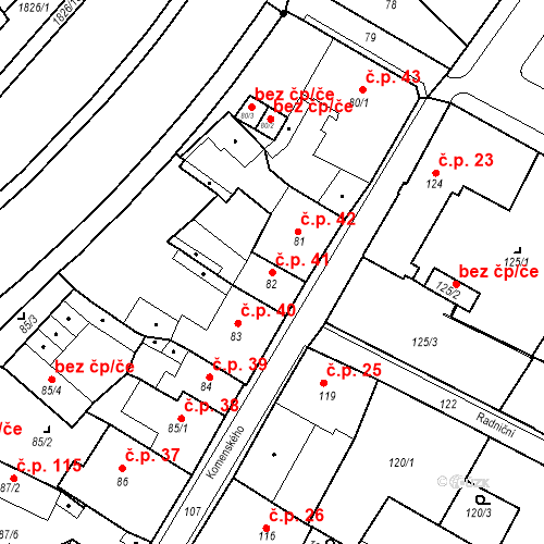 Katastrální mapa Stavební objekt Bílina 41, Bílina