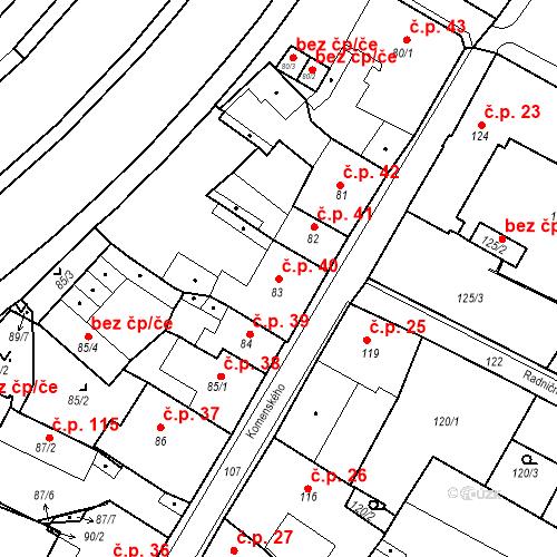 Katastrální mapa Stavební objekt Bílina 40, Bílina