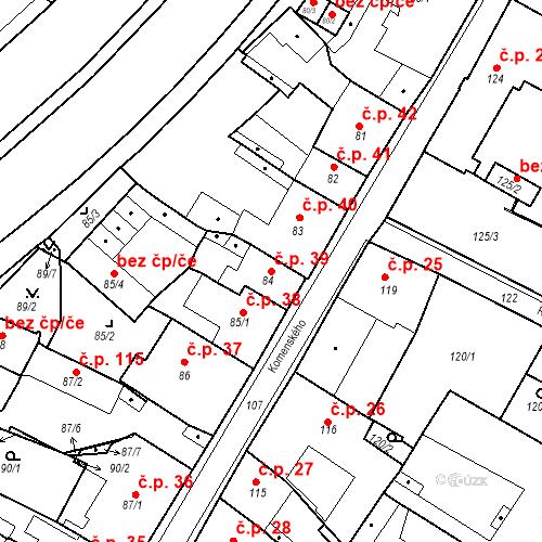 Katastrální mapa Stavební objekt Bílina 39, Bílina