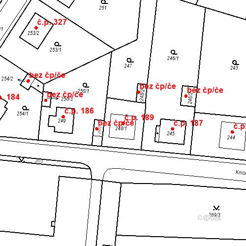 Katastrální mapa Stavební objekt Pražské Předměstí 189, Bílina
