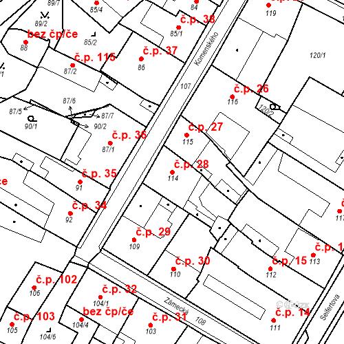 Katastrální mapa Stavební objekt Bílina 28, Bílina