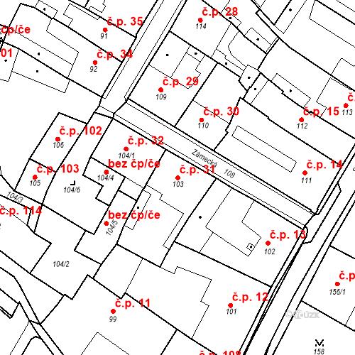Katastrální mapa Stavební objekt Bílina 31, Bílina