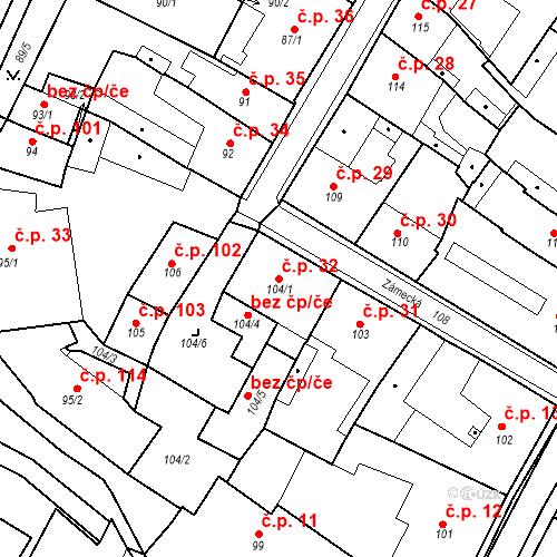 Katastrální mapa Stavební objekt Bílina 32, Bílina