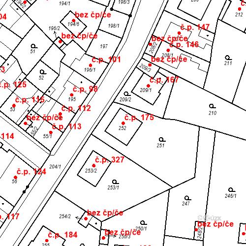 Katastrální mapa Stavební objekt Pražské Předměstí 175, Bílina