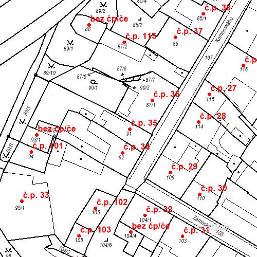 Katastrální mapa Stavební objekt Bílina 35, Bílina