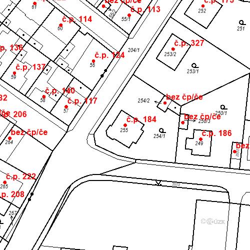 Katastrální mapa Stavební objekt Pražské Předměstí 184, Bílina