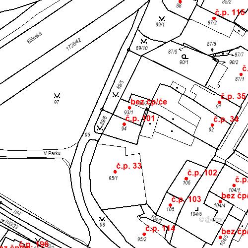 Katastrální mapa Stavební objekt Bílina 101, Bílina
