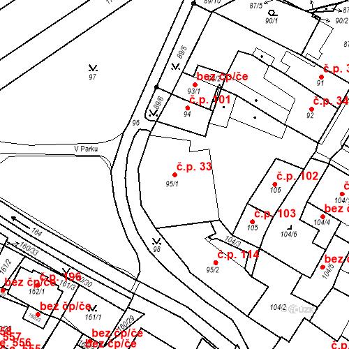 Katastrální mapa Stavební objekt Bílina 33, Bílina