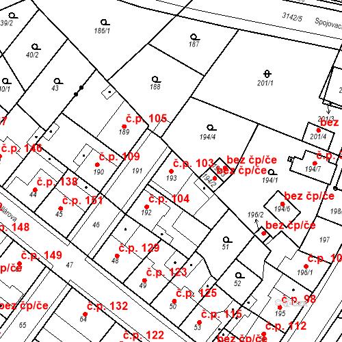 Katastrální mapa Stavební objekt Pražské Předměstí 103, Bílina