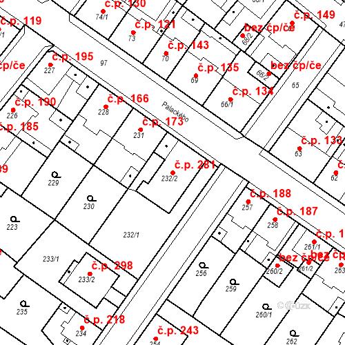 Katastrální mapa Stavební objekt Újezdské Předměstí 281, Bílina
