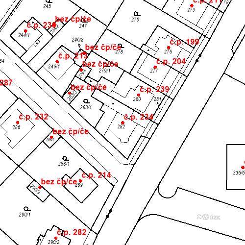 Katastrální mapa Stavební objekt Újezdské Předměstí 234, Bílina