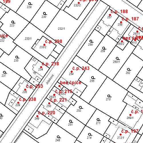 Katastrální mapa Stavební objekt Újezdské Předměstí 243, Bílina