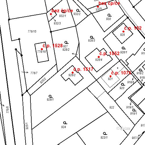 Katastrální mapa Stavební objekt Duchcov 1517, Duchcov