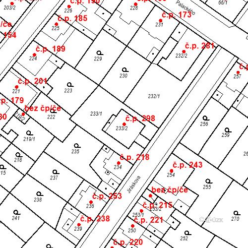 Katastrální mapa Stavební objekt Újezdské Předměstí 298, Bílina