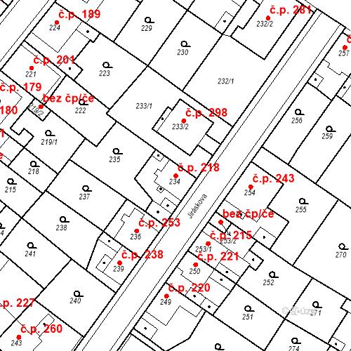 Katastrální mapa Stavební objekt Újezdské Předměstí 218, Bílina