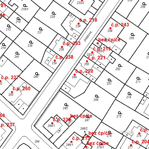 Katastrální mapa Stavební objekt Újezdské Předměstí 220, Bílina