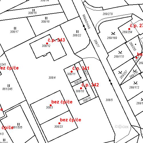 Katastrální mapa Stavební objekt Újezdské Předměstí 341, Bílina