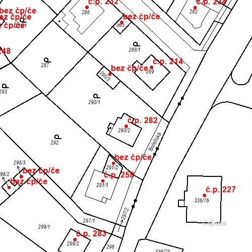 Katastrální mapa Stavební objekt Újezdské Předměstí 282, Bílina