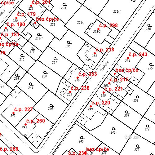 Katastrální mapa Stavební objekt Újezdské Předměstí 253, Bílina