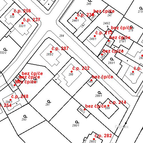 Katastrální mapa Stavební objekt Újezdské Předměstí 232, Bílina