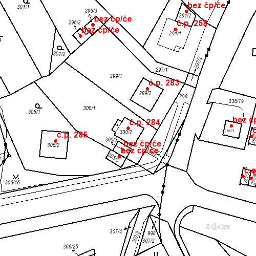 Katastrální mapa Stavební objekt Újezdské Předměstí 284, Bílina