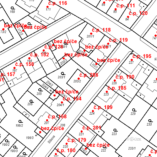 Katastrální mapa Stavební objekt Újezdské Předměstí 286, Bílina