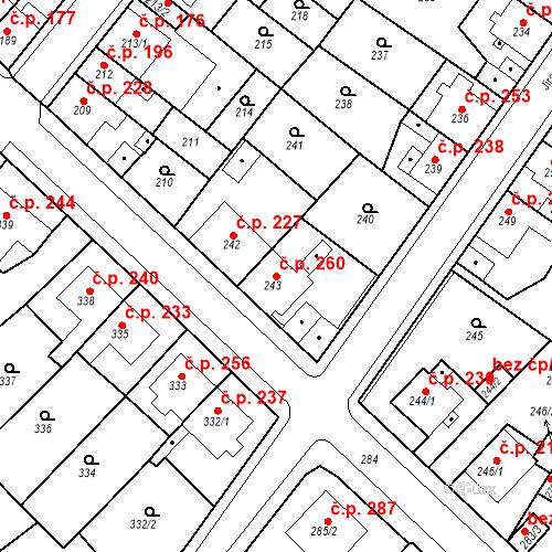 Katastrální mapa Stavební objekt Újezdské Předměstí 260, Bílina