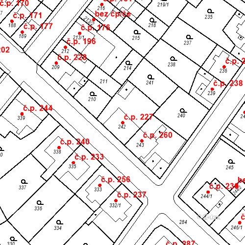 Katastrální mapa Stavební objekt Újezdské Předměstí 227, Bílina
