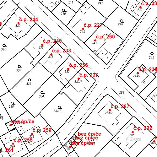 Katastrální mapa Stavební objekt Újezdské Předměstí 237, Bílina