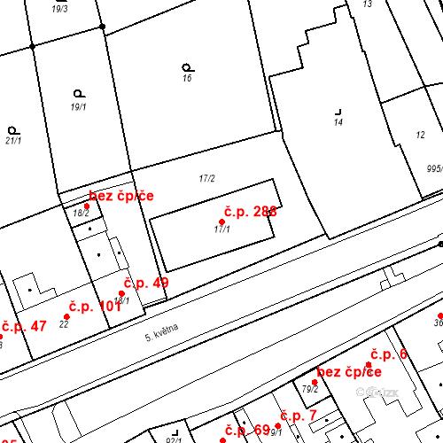Katastrální mapa Stavební objekt Újezdské Předměstí 288, Bílina