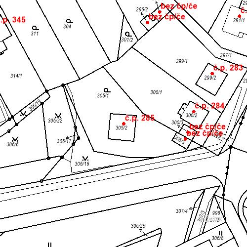 Katastrální mapa Stavební objekt Újezdské Předměstí 285, Bílina