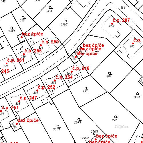 Katastrální mapa Stavební objekt Újezdské Předměstí 248, Bílina