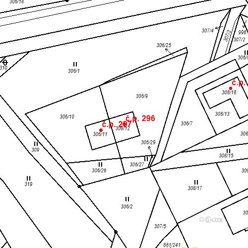Katastrální mapa Stavební objekt Újezdské Předměstí 296, Bílina
