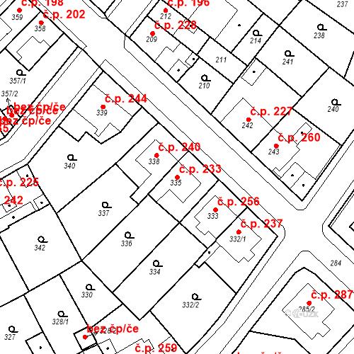 Katastrální mapa Stavební objekt Újezdské Předměstí 233, Bílina