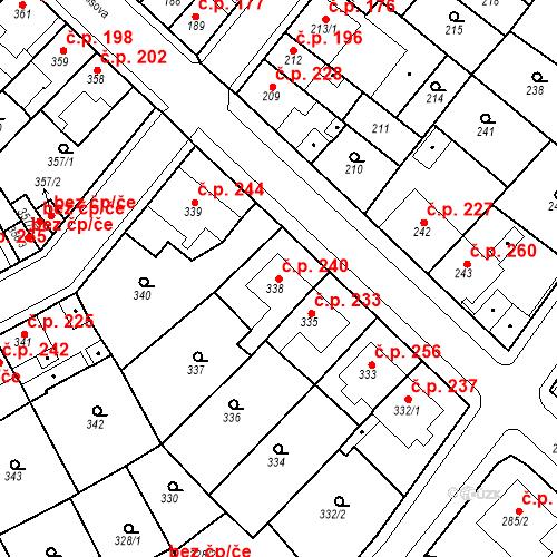 Katastrální mapa Stavební objekt Újezdské Předměstí 240, Bílina