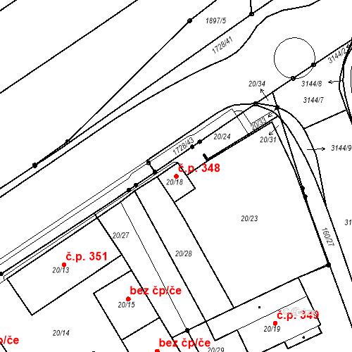 Katastrální mapa Stavební objekt Újezdské Předměstí 348, Bílina