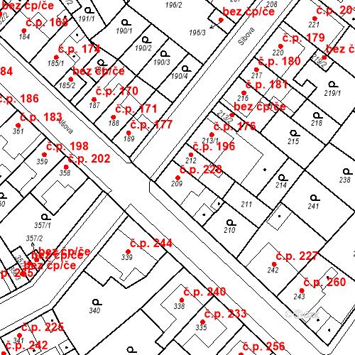 Katastrální mapa Stavební objekt Újezdské Předměstí 228, Bílina