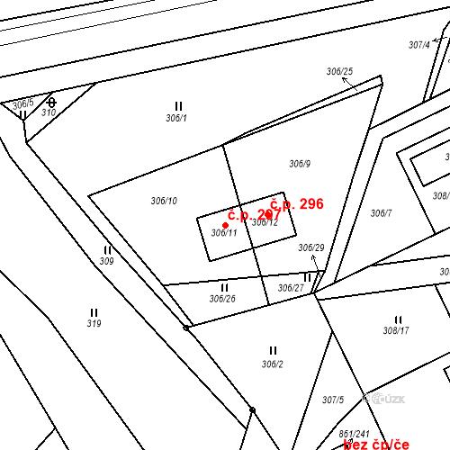 Katastrální mapa Stavební objekt Újezdské Předměstí 297, Bílina