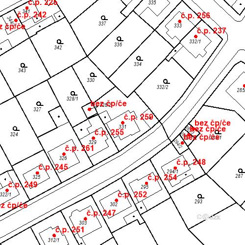 Katastrální mapa Stavební objekt Újezdské Předměstí 259, Bílina