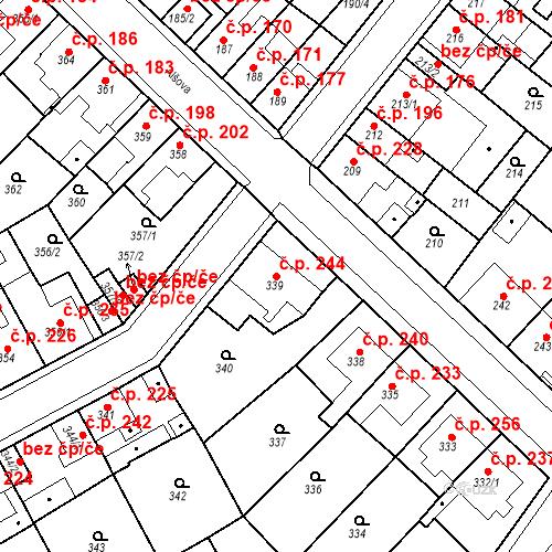 Katastrální mapa Stavební objekt Újezdské Předměstí 244, Bílina