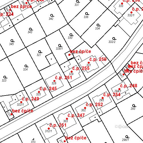 Katastrální mapa Stavební objekt Újezdské Předměstí 255, Bílina