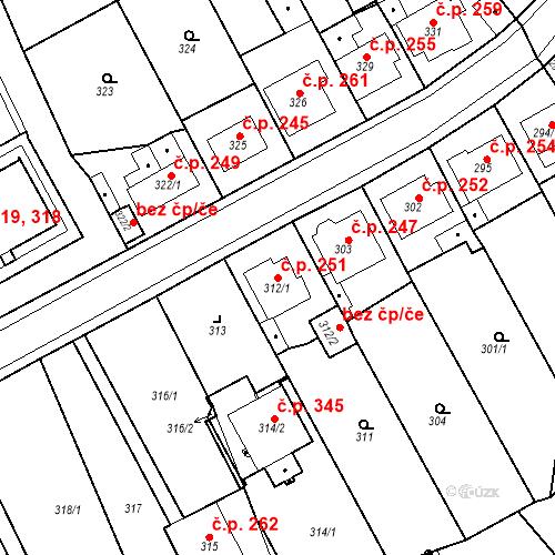 Katastrální mapa Stavební objekt Újezdské Předměstí 251, Bílina